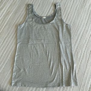 J. Crew Factory Grey and Silver  Cotton Tank Top